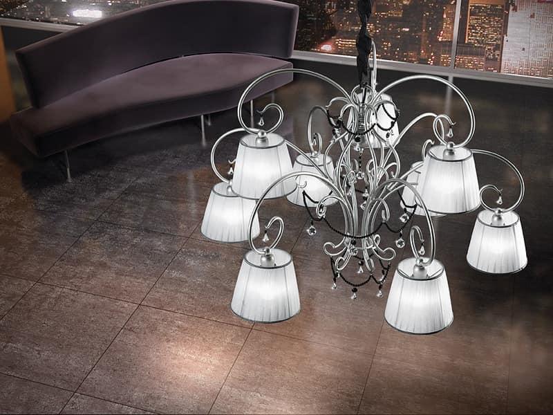 Venezia chandelier, Hand-wrought iron chandelier, necklaces in Murano glass