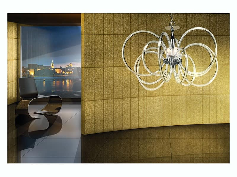 Vogue chandelier, Pendant lamp, in brass with glass diffusers