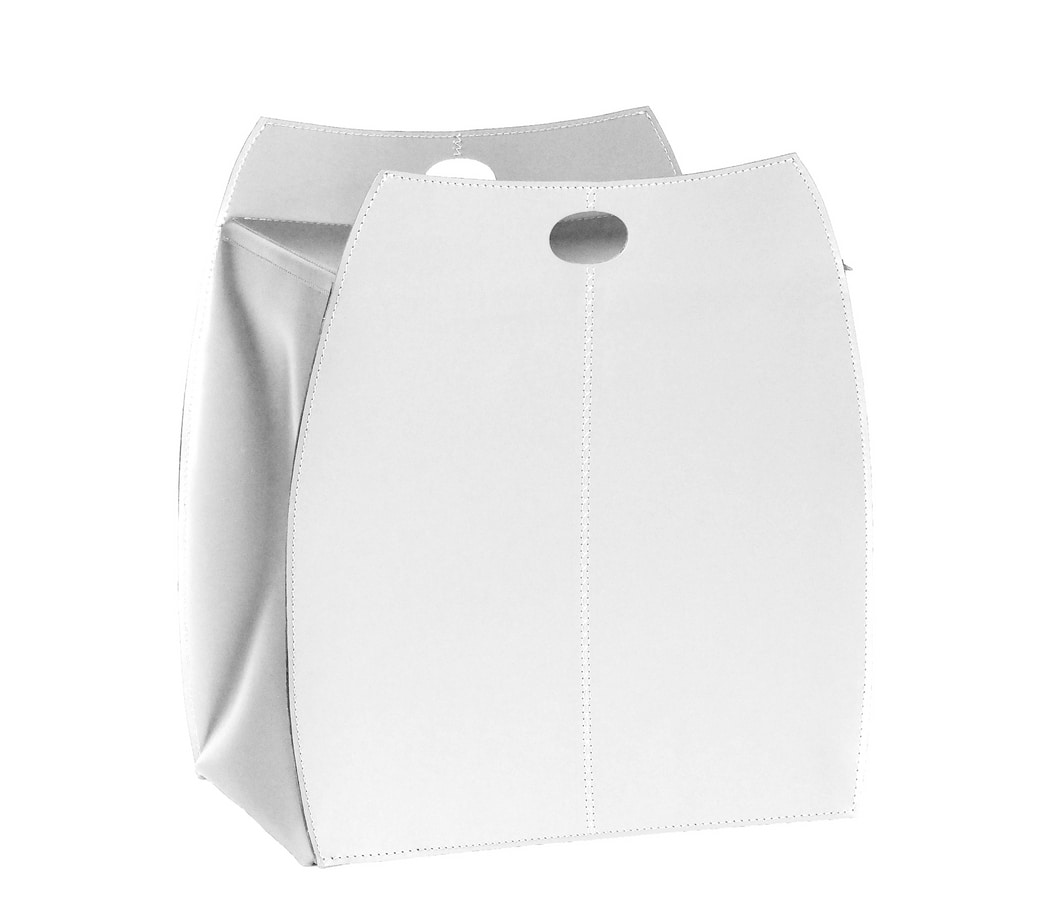 Alessio, Laundry basket in leather with swing lid