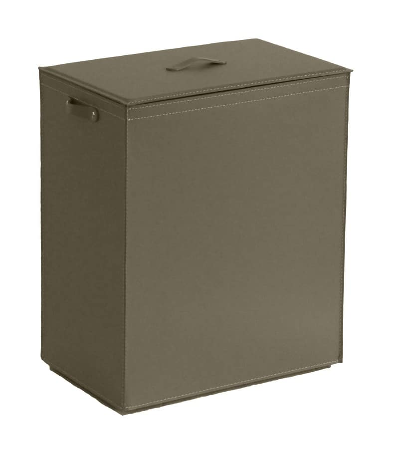 Peter, Laundry basket in leather with cotton lining