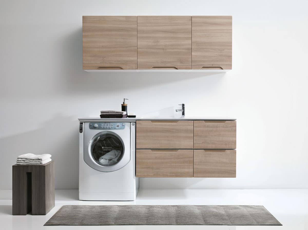 Laundry furniture with wall cupboards idfdesign for Colonna lavatrice asciugatrice ikea