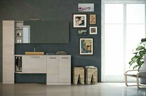 LAVANDERIA 03, Laundry cabinet with hinged doors with sink