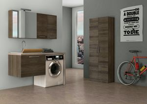 LAVANDERIA 05, Suspended laundry cabinet with sink