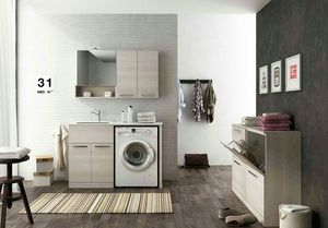 LAVANDERIA 8, Modular laundry unit with hinged doors with sink