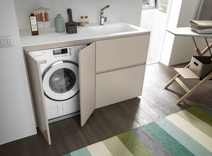 Lime Wash comp.05, Compact cabinet for laundry, with washing machine compartment