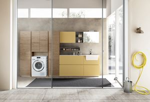 Lime Wash comp.09, Laundry cabinet with integrated washbasin