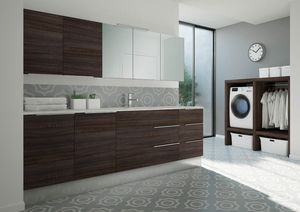 Spazio Time comp.08, Laundry cabinet with integrated washbasin