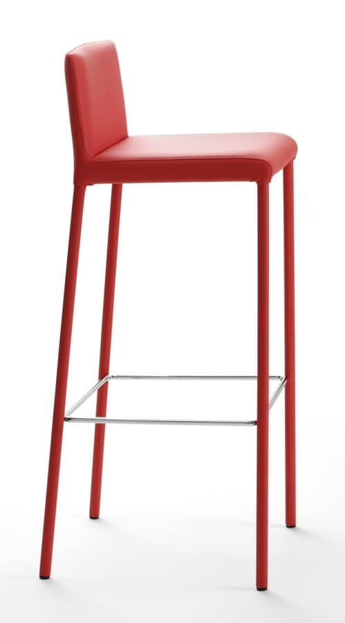 Amelie stool, Stool in painted steel and faux leather, for bars