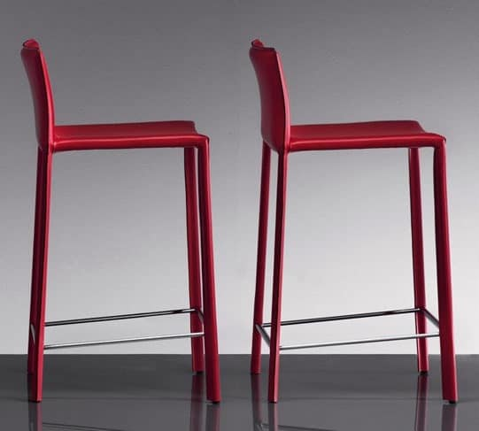 ART. 236/A SUNRISE STOOL, Modern stools, upholstered in leather, for bars and pubs