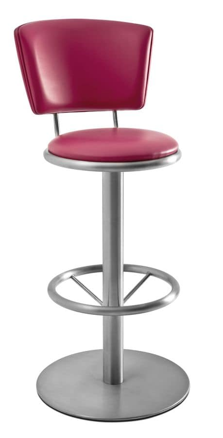 Art.Cip, Swivel steel barstool, round base, upholstered seat and back, leather covering