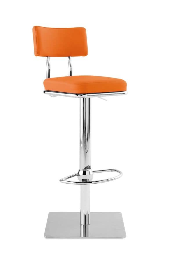 Art.Quadro/Reg, Steel barstool with square base, upholstered seat and back, for contract and domestic environments
