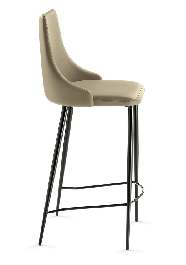 Evelin SG varnished, Stool with leather upholstery