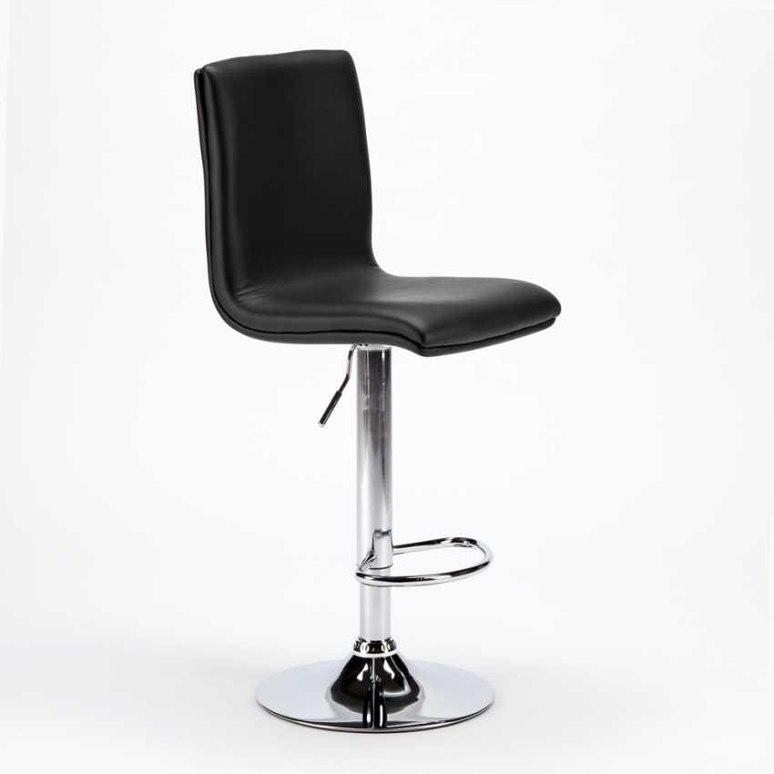 High bar stool and adjustable kitchen with back COLUMBUS Design - SGA800COL, Stool in leather, adjustable in height