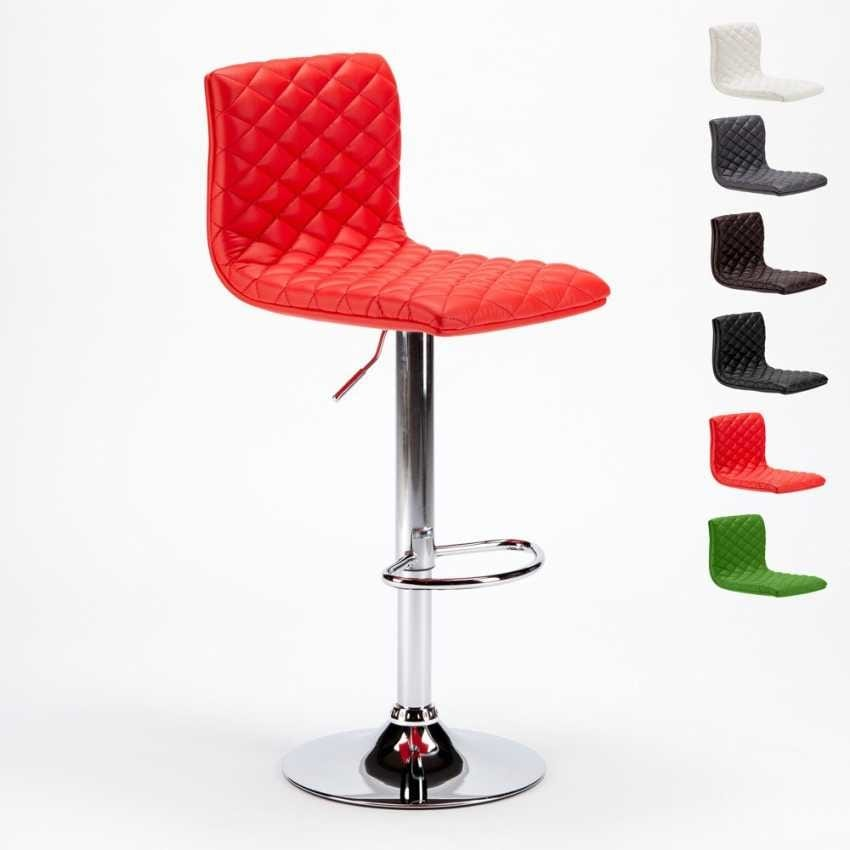 Amazing Quilted Stool In Imitation Leather Idfdesign Machost Co Dining Chair Design Ideas Machostcouk