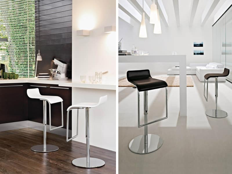 MILANO, Stool for kitchen with adjustable height, covered in leather