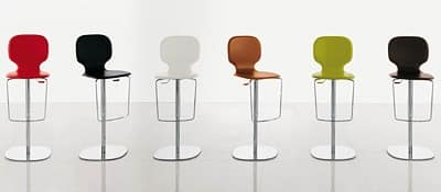NEW YORK, Barstool with adjustable chromed metal base, wooden and leather seat
