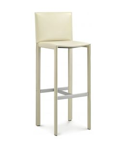 Pasqualina barstool 10.0095, Stool upholstered in leather, for hotel