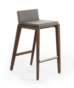 Rio stool, Minimal stool in wood and leather