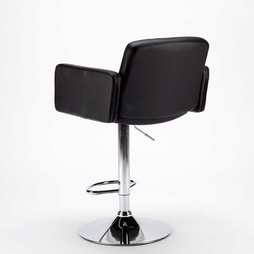 Stool with armrests for Bar and Kitchen OAKLAND in Eco-leather - SGA800OAK, Imitation leather stool with armrests