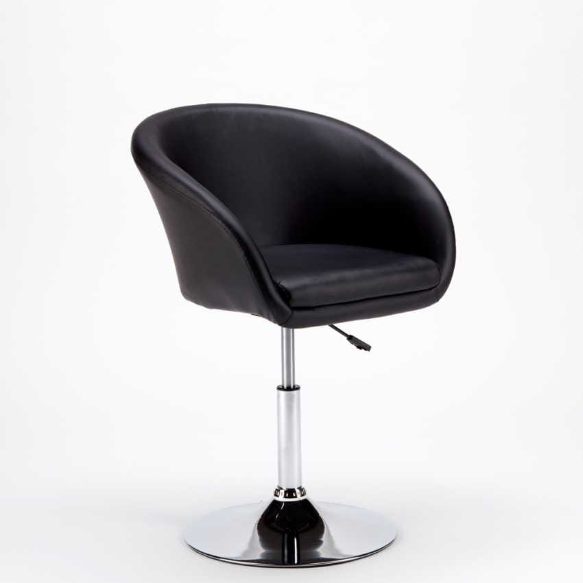 Swivel Stool in imitation leather AUSTIN Modern Design - SGA810AUS, Stool with wide base and armrests