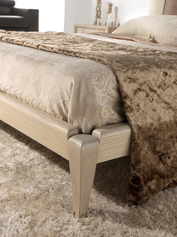 A 704, Ash bed with headboard in eco-nubuck bicolor