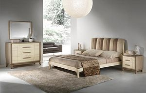 A 704, Ash bed with headboard in eco-nubuck bicolor