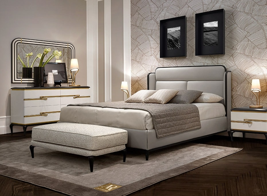 Dilan Art. D70, Bed with leather upholstery