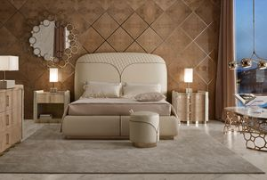 Ester bed, Leather bed, with headboard decorated with zipper