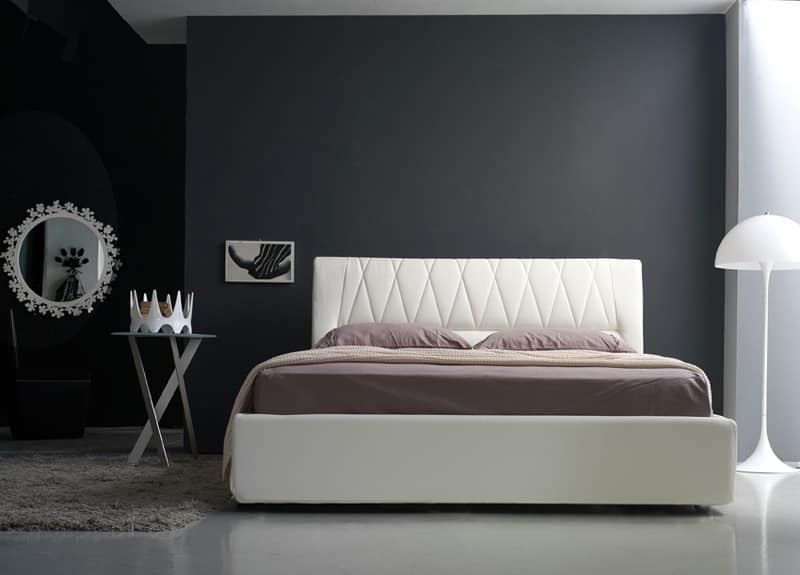 Gilda double bed, Linear padded bed with quilted headboard, various colors