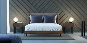 Ironwood Pad bed, Elegant bed with Nabuk upholstered headboard
