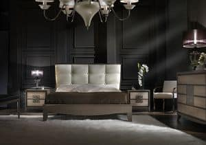 ST 704, Bed with faux leather headboard, classic contemporary style
