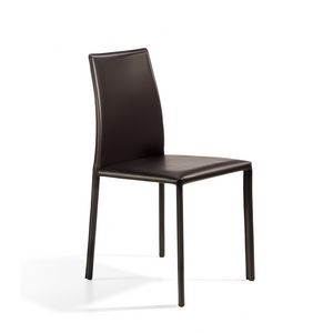 Agata low, Chair entirely covered in leather, steel structure
