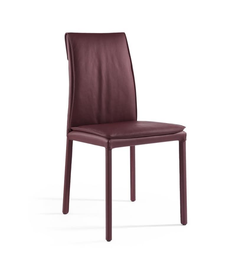 Agorà, Chair with padded cushion, customizable finish