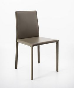Aida, Chair in regenerated leather, linear and eclectic
