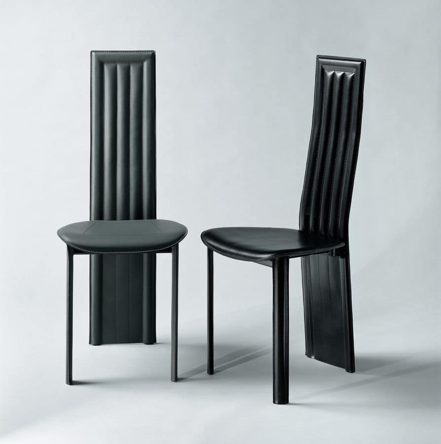 Alfa, Dining chair, with back legs integrated into the backrest, upholstered in thick leather