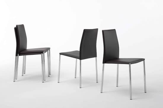 Alu, Modern stackable chair, metal and leather, for Stay