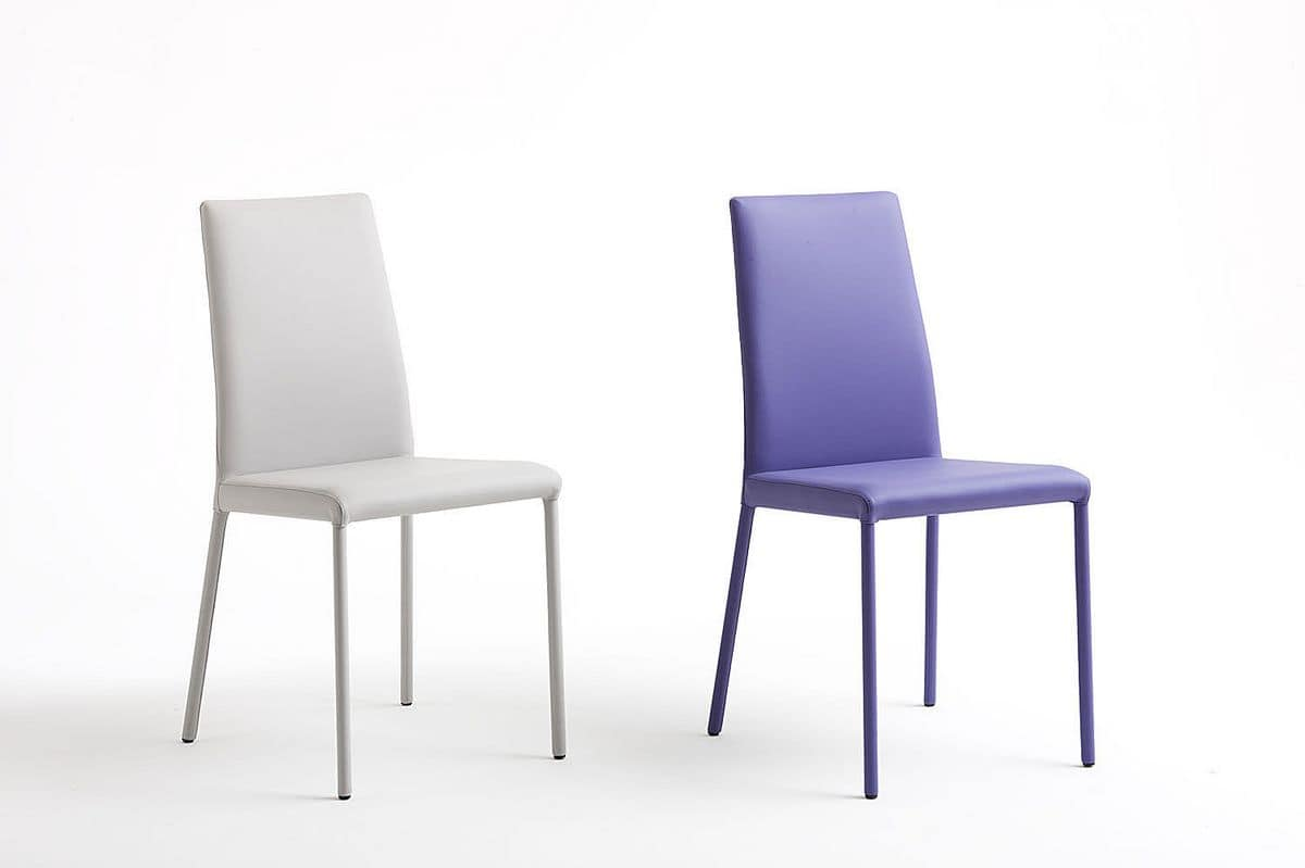 Amelie, Metal chair, nabuk upholstery, available in two heights