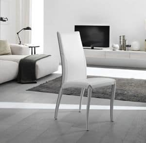 Amos, Elegant chair, fully upholstered in leather, for dining room