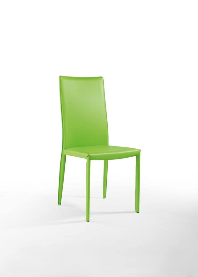 Anemone high, Dining chair in padded leather, for restaurant