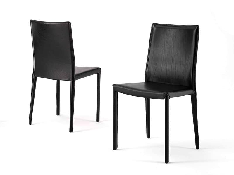 Anemone low, Classic dining chair, in leather, for living room