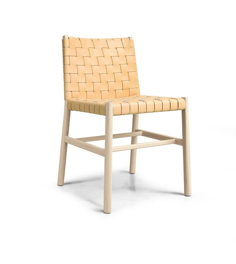 ART. 0023-CU JULIE, Wood chair with woven leather