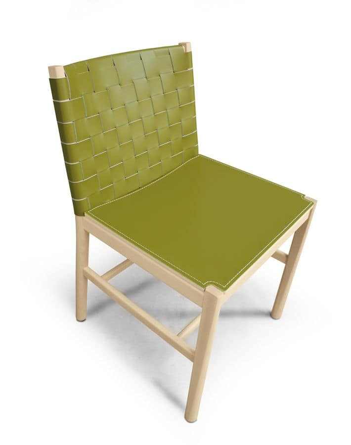 ART. 0022-CU-LE JULIE, Elegant chair in wood and leather