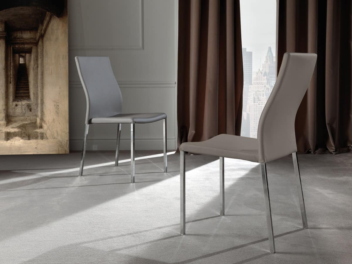 Art. 213 Hellen, Metal chair, upholstered in high quality faux leather