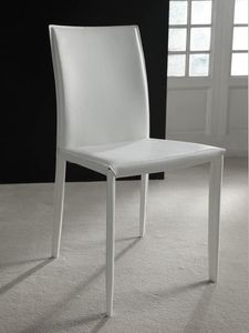 Art. 228 Cathy, Chair in regenerated leather fiber, available in various finishes
