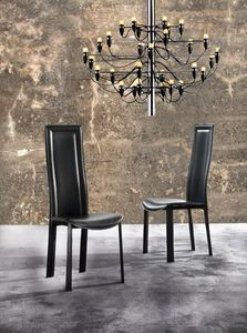 Art. 230 Bond, Dining chair with high-backrest, upholstered in eco-leather