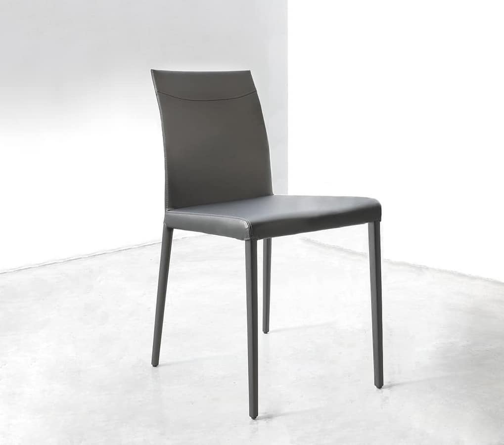 ART. 252/1 SOFT MISS, Chair covered in leather with metal structure