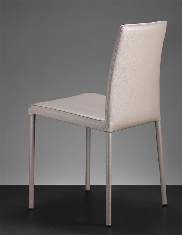 ART. 301 SARAH SOFT COVERED LOW BACK, Metal chair, upholstered in leather or imitation leather