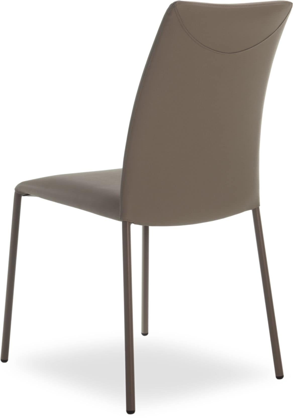Belle, Stackable metal chair, genuine leather covering