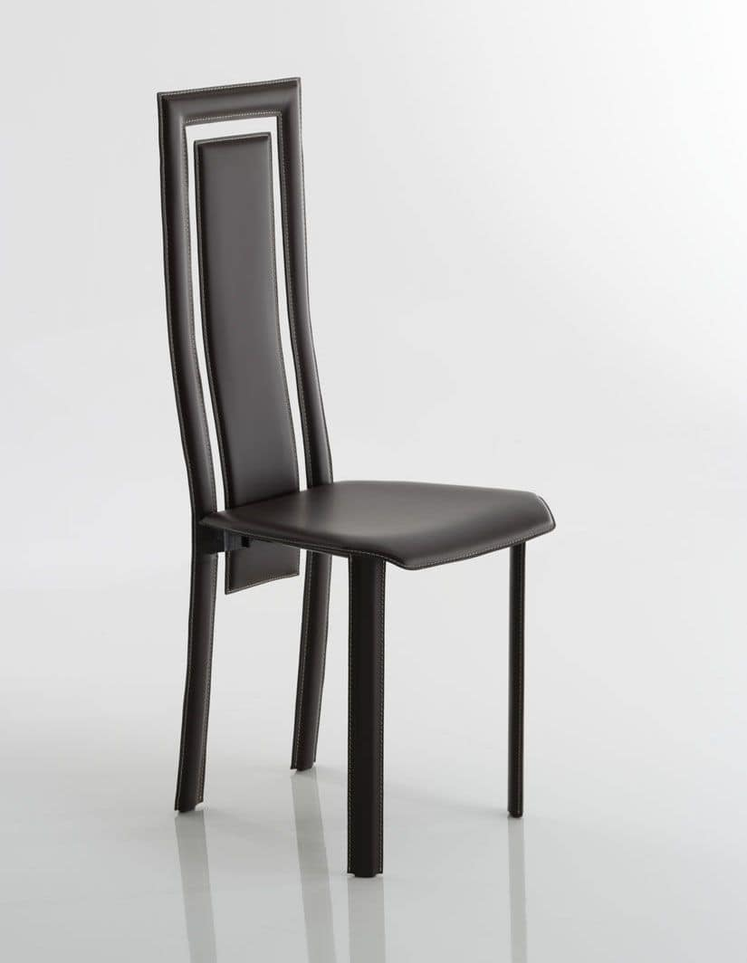 Betty, Leather chair, original perforated backrest, suited for the dining room