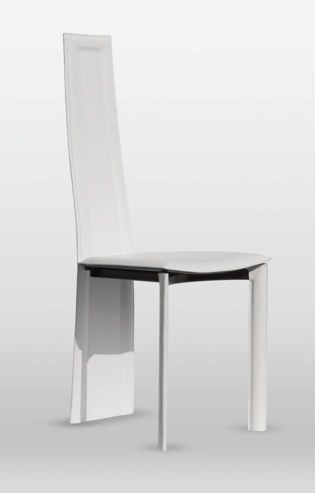 Calipso, Chair for living room, leather upholstery, rear legs are included in the backrest